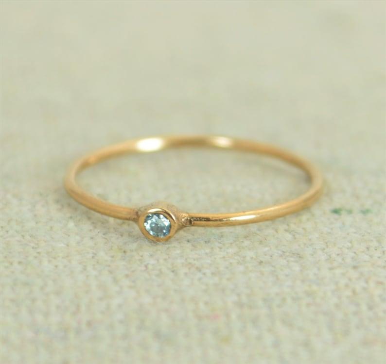 Tiny Aquamarine Ring Aquamarine Ring Stacking Ring March image 0