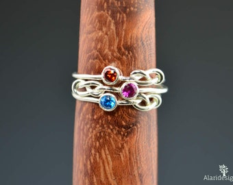Grab 3 Silver Infinity Mother's Rings, Infinity Ring, Stacking Mothers Ring, Infinity Knot Ring, Mother's Gemstone Ring, Silver Knot Ring