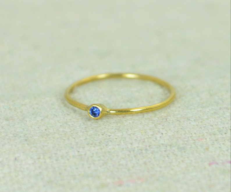 Tiny Sapphire Ring Sapphire Stacking Ring Gold Filled image 0
