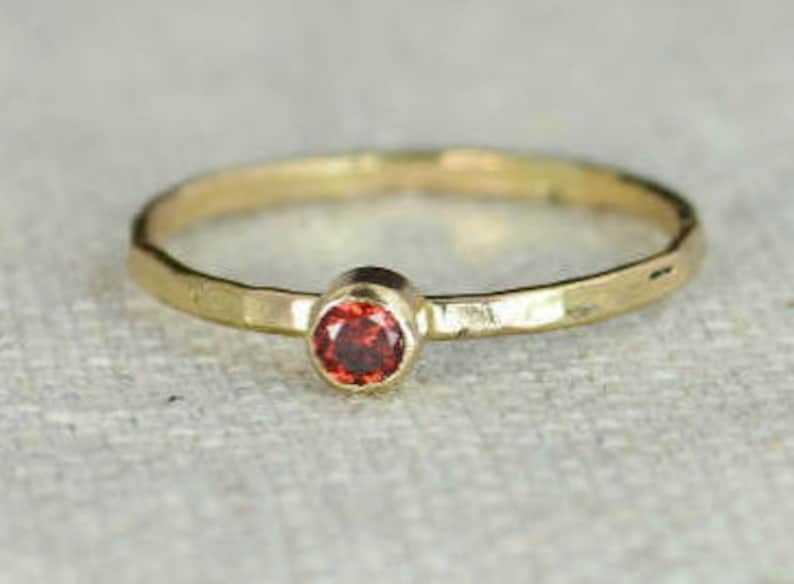 Classic 14k Gold Filled Garnet Ring Gold Solitaire Solitaire image 0