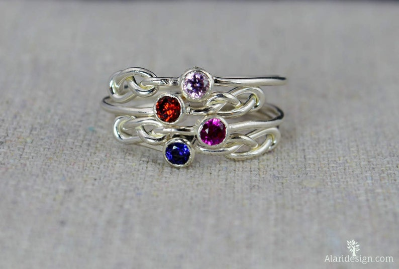 Infinity Ring Mother/'s Gemstone Ring Silver Knot Ring Grab 3 Silver Infinity Mother/'s Rings Stacking Mothers Ring Infinity Knot Ring