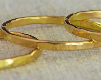 Set of 10 Classic 14k Gold Stackable Rings, 14k Gold Filled, Stack Rings, Stacking Rings, Simple Gold Ring, Hammered Gold Rings, Gold Band