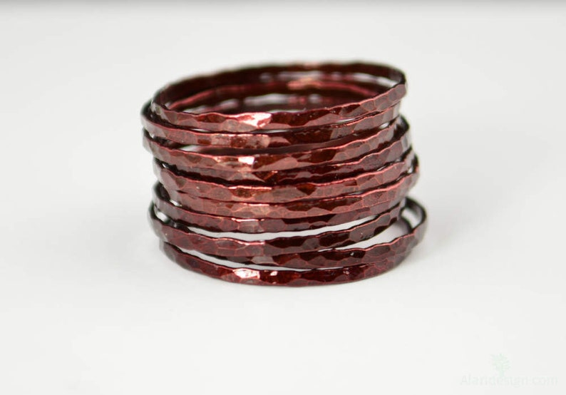 Super Thin Cherry Copper Stackable Rings Copper Ring image 0