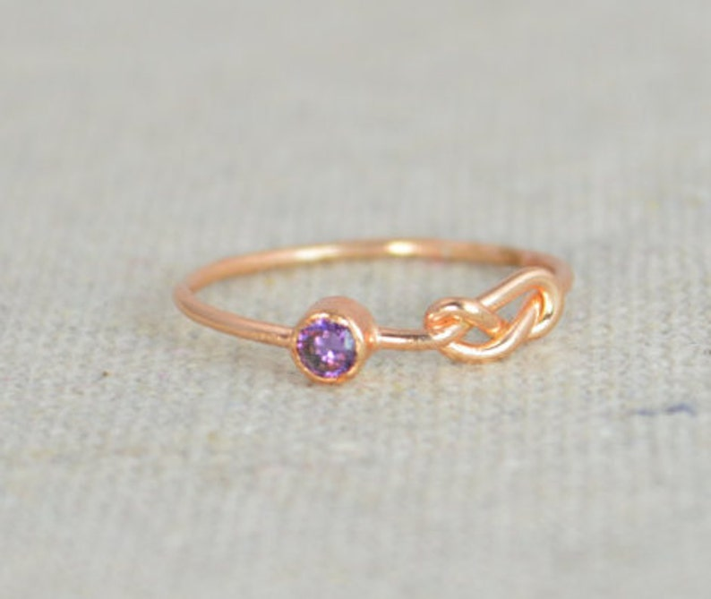 Amethyst Infinity Ring  Rose Gold Filled Ring Stackable image 0