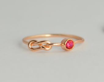 Rose Gold Ruby Infinity Ring, Infinity Ring, July Birthstone, Thin Rose Gold Ring, Stack Ring, Mother's Ring, Rose Gold Ring Band, Alari