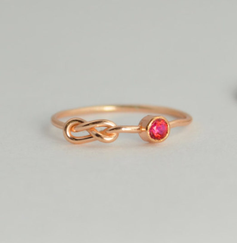 Rose Gold Ruby Infinity Ring Infinity Ring July Birthstone image 0