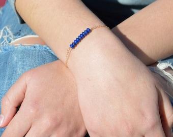 Lapis Lazuli Bracelet, Danity Stacking Bracelet, 14k Gold Fill, Sterling Silver, Rose Gold, Blue Bracelet, Lapis Lazuli, Bar Bracelet, Gold