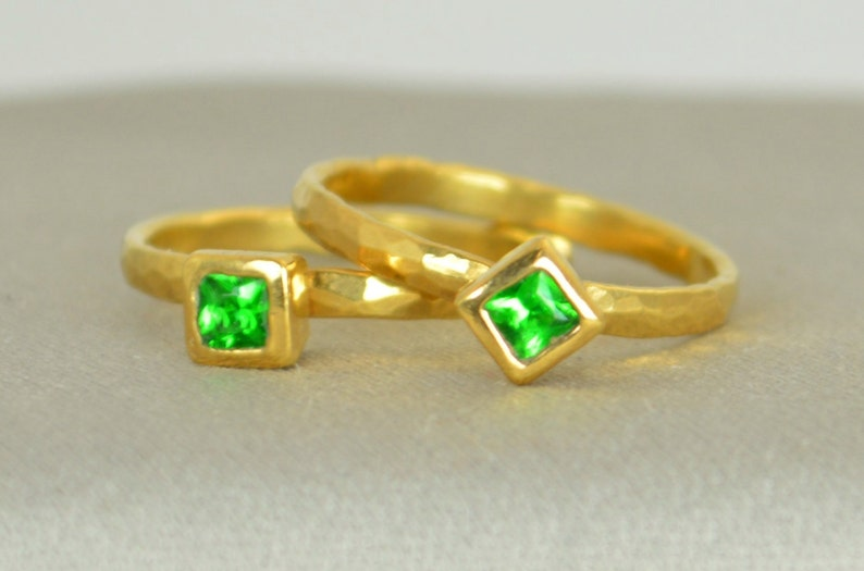 Square Emerald Ring Emerald Gold Ring May's Birthstone image 0