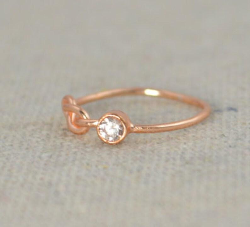 CZ Diamond Infinity Ring Rose Gold Filled Diamond Ring image 0