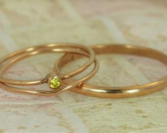 Tiny Citrine Ring Set, Solid 14k Rose Gold Wedding Set, Stacking Ring, Solid 14k Gold Citrine Ring, November Birthstone, Bridal Set, Topaz