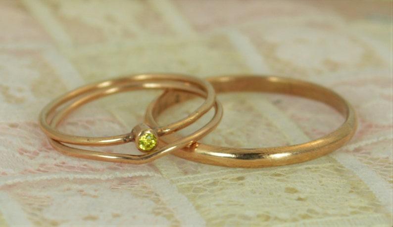 Tiny Citrine Ring Set Solid 14k Rose Gold Wedding Set image 0