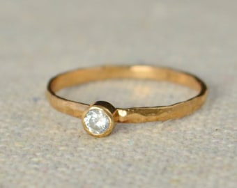 Classic Rose Gold Filled CZ Diamond Ring, solitaire, solitaire ring, rose gold filled, April Birthstone, Mothers Ring, gold band, White Ring