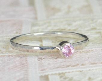 Pink Tourmaline  Engagement Ring, Sterling Silver, Wedding Ring Set, Rustic Wedding Ring Set, October Birthstone, Sterling Silver Ring