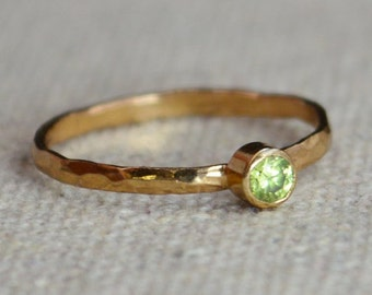 Classic Rose Gold Filled Peridot Ring, solitaire, solitaire ring, rose gold filled, August Birthstone, Mothers Ring, gold band, Band