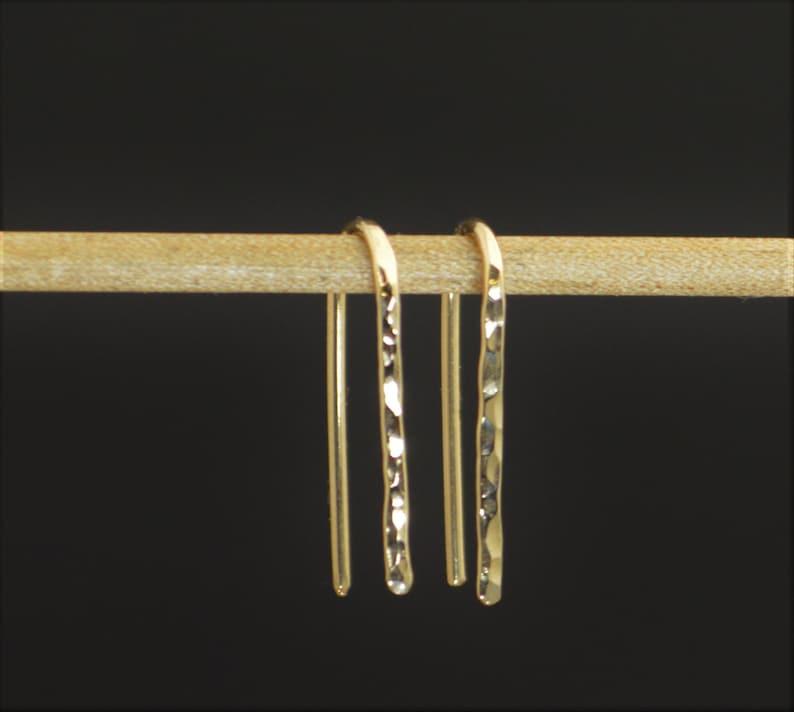 Gold Open Hoop Earrings Horseshoe Earrings Arc image 0