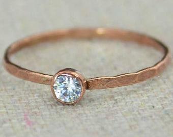 Dainty Copper CZ Diamond Ring, Hammered Copper, CZ Diamond Jewelry, CZ Diamond Mothers Ring, Aprils Birthstone, Copper Jewelry, Pure Copper