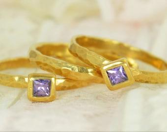 Amethyst Engagement Ring, Gold Filled, Amethyst Wedding Ring Set, Rustic Wedding Ring Set, February Birthstone, Gold Filled, Amethyst Ring