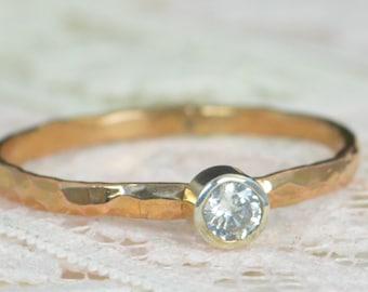 Natural Diamond Engagement Ring, 14k Rose Gold, Diamond Wedding Ring Set, Rustic Wedding Ring Set, April Birthstone, Solid 14k Diamond Ring