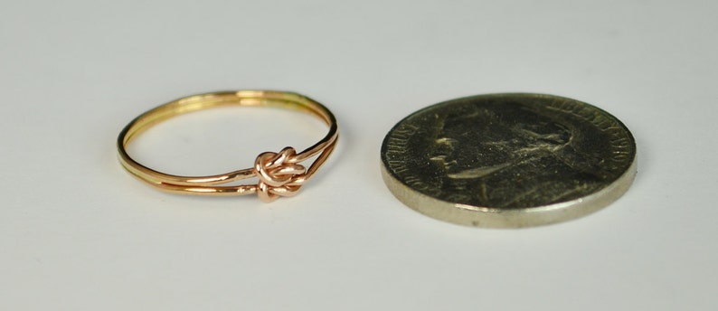 Dainty Rose Gold Double Knot Ring Love Knot Ring Mother Daughter Ring Bridal Ring BFF Ring Love Ring Promise Ring