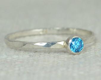 Dainty Blue Zircon Ring, Silver Blue Zircon Ring,  Stackable Ring, Mothers Ring, December Birthstone, December Ring, Skinny Ring, Thin Ring