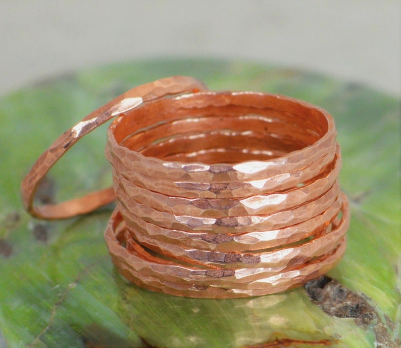 Super Thin Copper Stackable Rings Copper Ring Skinny Ring image 0