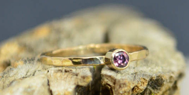 Classic 14k Gold Alexandrite Ring 3mm gold solitaire image 0