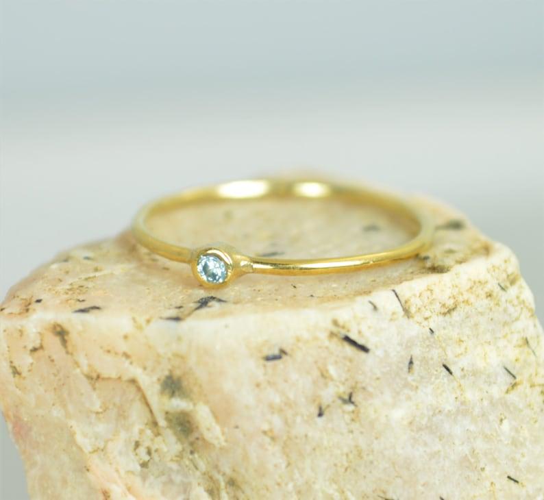 Tiny Aquamarine Ring Solid 14k Gold Aquamarine Stacking Ring image 0