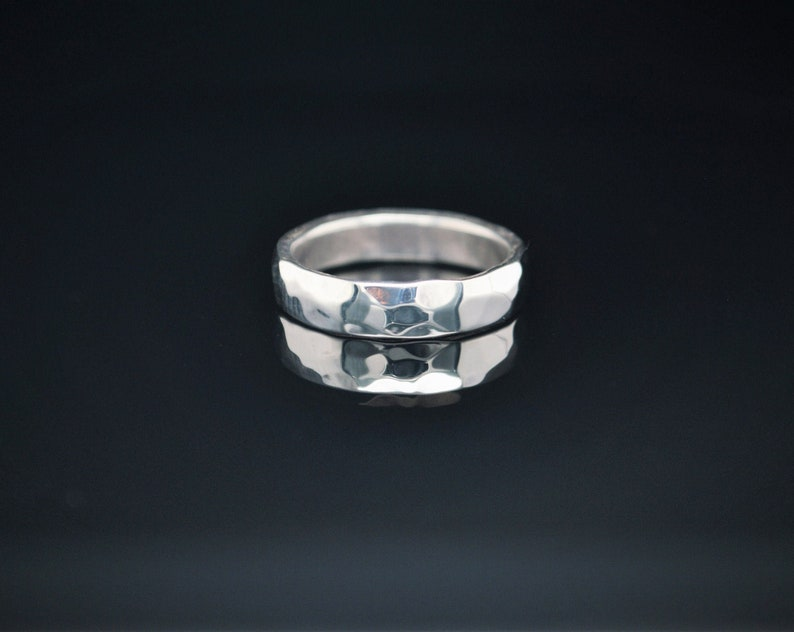 5mm Wide Solid Sterling Silver Hammered Wedding Band Wide image 0