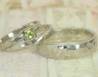 Square Peridot Engagement Ring, 14k White Gold, Peridot Wedding Ring Set, Rustic Wedding Ring Set, August Birthstone, Solid Gold, Peridot