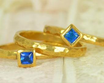 Square Blue Zircon Engagement Ring, 14k Gold Filled, Blue Zircon Wedding Ring Set, Rustic Wedding Ring Set, December Birthstone, Filled Gold