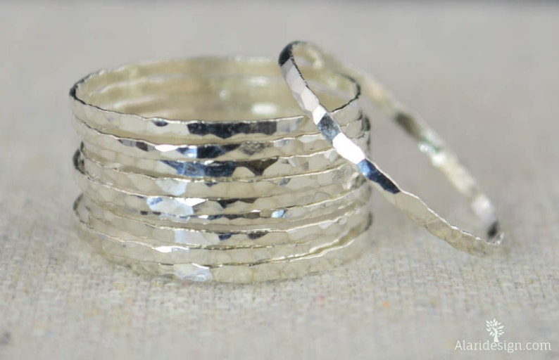 Set of 10 Super  Thin Silver Stackable Rings Skinny Silver image 0
