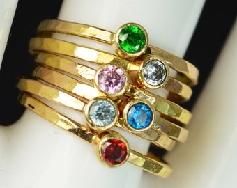 Grab 6 Classic 14k Gold Filled Birthstone Rings, Gold solitaire, solitaire ring, 14k gold filled,Birthstone, Mothers Ring, gold band