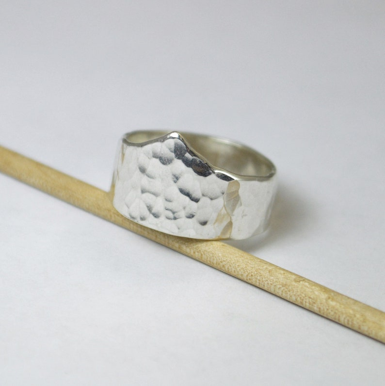 Hammered Silver Chevron Ring Silver Tiara Ring Sterling image 0
