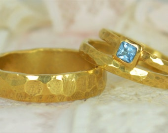 Square Aquamarine Engagement Ring, 14k Gold, Aquamarine Wedding Ring Set, Rustic Wedding Ring Set, March Birthstone, Solid Gold
