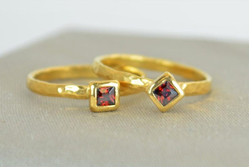 Square Garnet Ring Garnet Solitaire Garnet Solid 14k Gold image 1