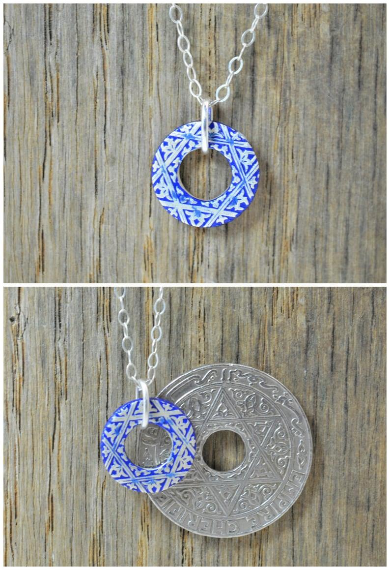 Moroccan Coin Necklace Blue Coin Necklace Coin Art Morocco image 0
