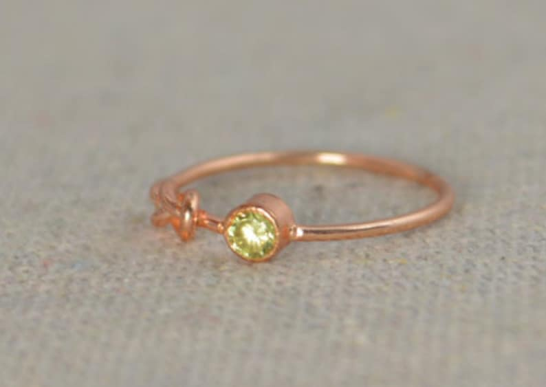 Peridot Infinity Ring Rose Gold Filled Ring Stackable Rings image 0