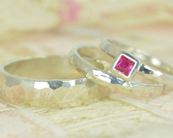 Square Ruby Engagement Ring, Sterling Silver, Ruby Wedding Ring Set, Rustic Wedding Ring Set, July Birthstone, Sterling Silver Ruby