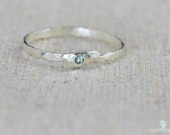 Freeform Aquamarine Ring, Sterling Silver, Asymmetrical Ring, Stacking Rings, Mother's Ring, Birthstone Rings, Stack Ring, Aquamarine Ring