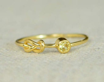 Topaz Infinity Ring, Gold Filled Ring, Stackable Rings, Mother's Ring, November Birthstone Ring, Gold Infinity Ring, Gold Knot Ring