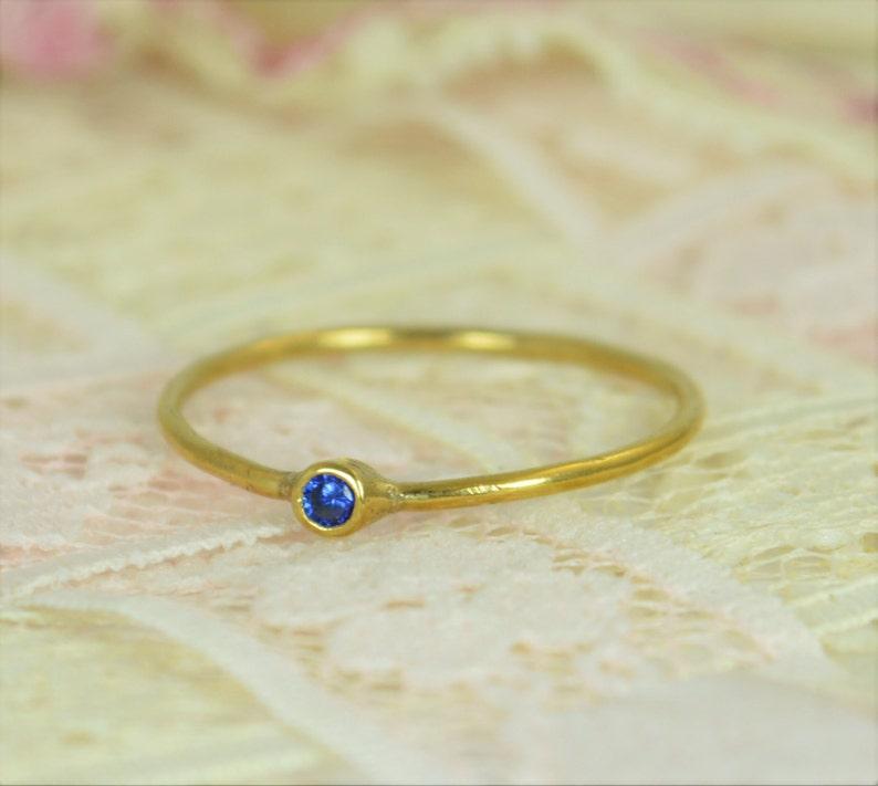 Tiny Sapphire Ring Set Solid 14k Gold Wedding Set Stacking image 0