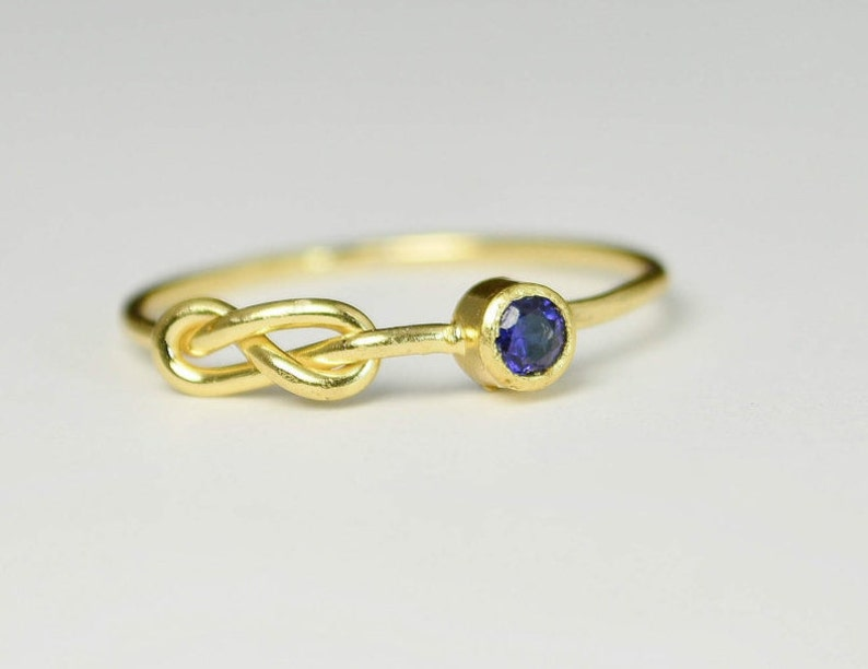 14k Gold Sapphire Infinity Ring 14k Gold Ring Stackable image 0