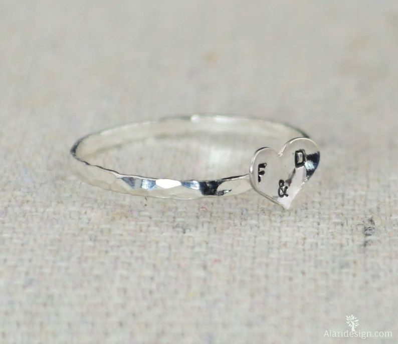 Dainty Silver Heart Ring Sterling Silver Stacking Ring image 0