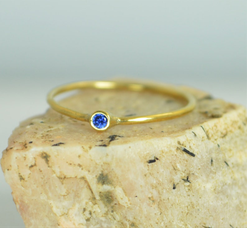 Tiny Sapphire Ring Sapphire Stacking Ring Solid 14k Gold image 0