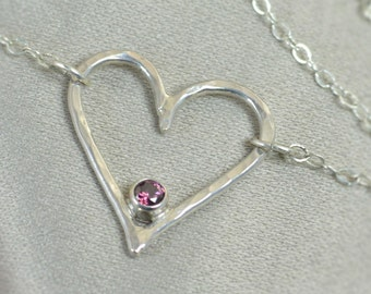 Alexandrite Heart Necklace, Sterling Silver, Mothers Necklace, June Birthstone Necklace, Alexandrite Necklace, Mother Necklace, Pendant