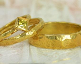 Square Topaz Engagement Ring, 14k Gold, Topaz Wedding Ring Set, Rustic Wedding Ring Set, November Birthstone, Solid Gold, Topaz Ring