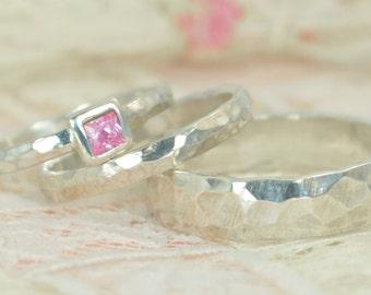 Square Pink Tourmaline Engagement Ring, Sterling Silver, Tourmaline Wedding Ring Set, Rustic Wedding Ring Set, October Birthstone Tourmaline