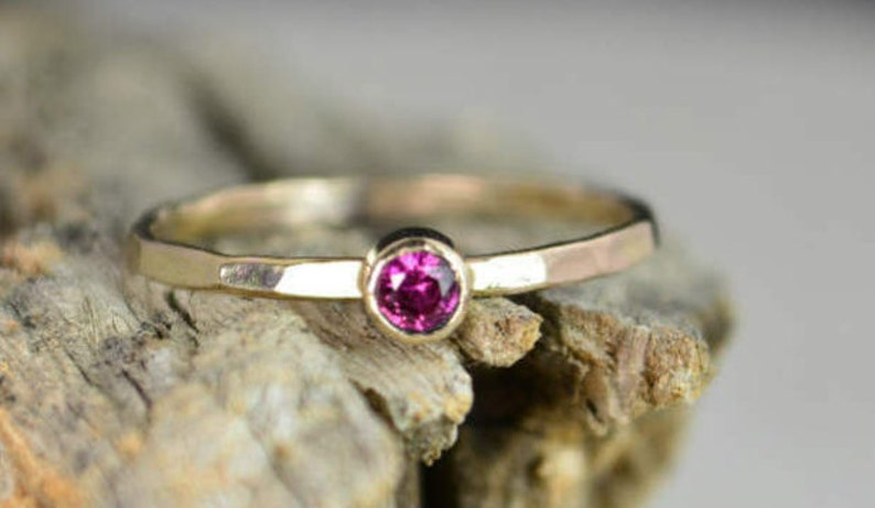 Classic Solid 14k Gold Ruby Ring 3mm gold solitaire image 0