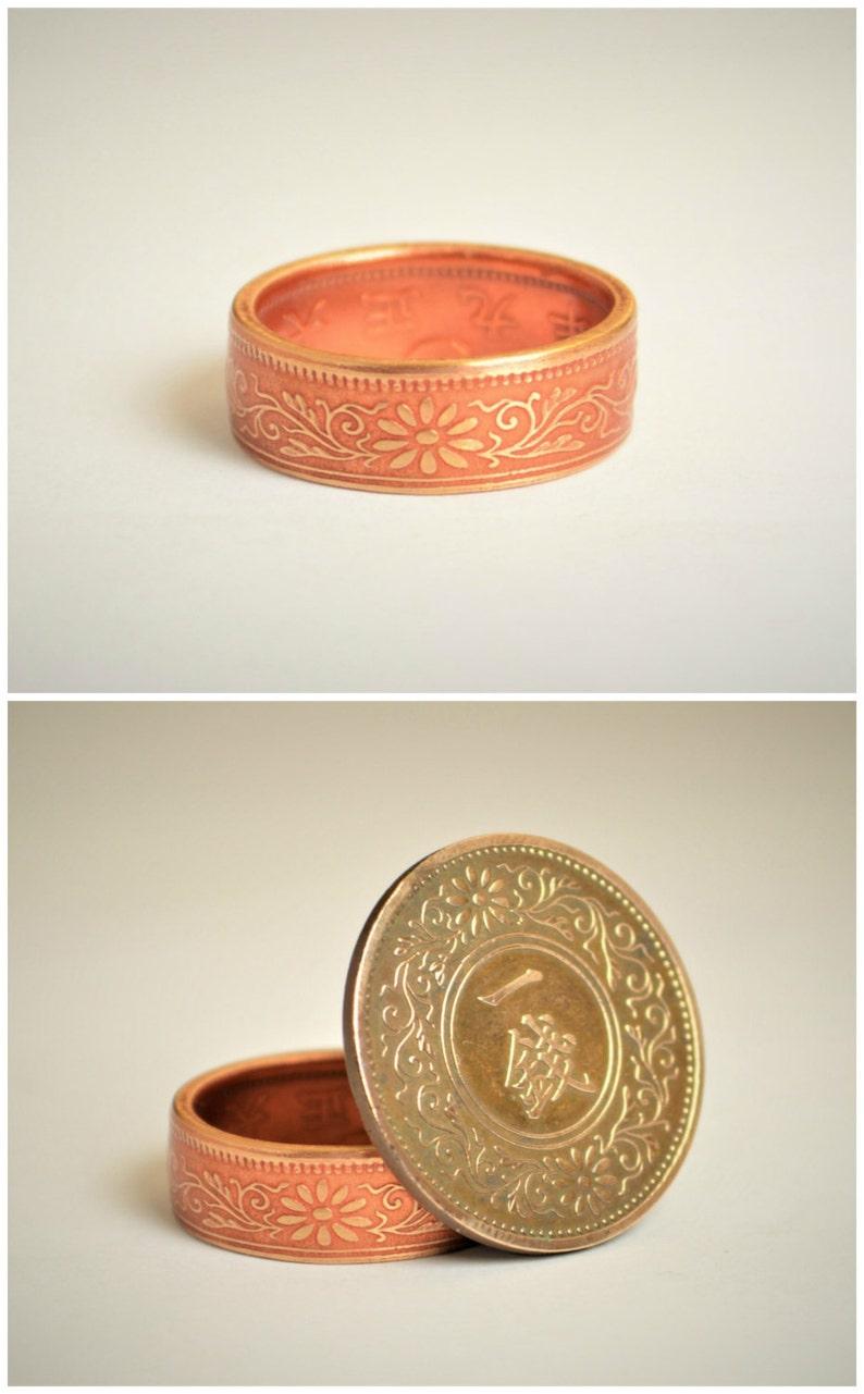 Bronze Ring Dusky Rose Ring Japanese Ring Coin Ring image 0