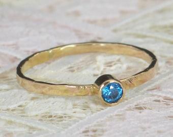 Blue Zircon Engagement Ring,14k Gold, Blue Zircon Wedding Ring Set, Rustic Wedding Ring Set, December Birthstone, Solid 14k Blue Zircon Ring